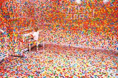 The Obliteration Room by Yayoi Kusama at GoMA in Brisbane.