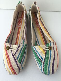Women's Ballet Flat Shoes Vegan Mad Love Multicolor Strip Canvas Size 9 New #MadLove #LoafersMoccasins
