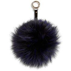 Adrienne Landau Fox Fur Pom-Pom Keychain ($98) ❤ liked on Polyvore featuring accessories, blue, pom pom key chain, keychain key ring, fob key chain, key chain rings and adrienne landau