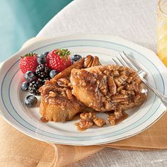 Praline-Pecan French Toast | Dress up ordinary French toast with a sweet praline mixture and a hint of cinnamon and vanilla.