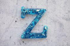Alphabet Letter Z Wall Letter Z Blue Resin by WordosaurusText
