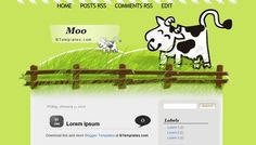 "Cute ""Moo"" layout from from BTemplates #blogspot #blogger"