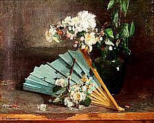Bertha Wegmann: A blue fan at a green jug with