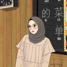 Hijab3 by ayusufaah on DeviantArt Cartoon Girl Images, Girl Cartoon, Cartoon Art, Hijabi Girl, Girl Hijab, Caricature, Hijab Drawing, Islamic Cartoon, Anime Muslim