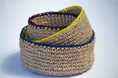 Crocheted Bowls, jute and cotton yarn, no pattern.