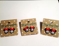 The perfect Christmas gift for the girl or woman or any Mouse lover on your list! Lovely, personalized Minnie earrings cut from acrylic and embellished with high quality, permanent vinyl. Stud, post earrings, .75 tall, 1/8 acrylic. Please put initials for the monogram in notes at checkout. I can personalize any of our products at your request, please check out our other designs and contact us or visit our website for personalized or custom orders. www.GingerSnapsGirls.weebly.com