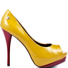 Raise your glass and toast to this impressive silhouette.  Blink features a soft mustard patent upper with a polished layer of ruby gloss sweeping the 1 inch platform.  This peep toe showcases a skinny yet walk able 4 1/2 inch stiletto heel.