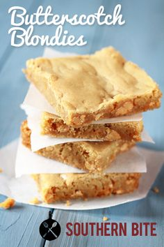 Easy Butterscotch Blondies recipe from Southern Bite. One bite of these and you will be hooked.