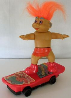 Vintage Taiwan Battery Operated Funny Goblin Troll On Skateboard- Works Great…