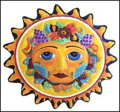 TROPICAL HOME DECOR - Sun Hand Painted Metal Art  Haitian Recycled steel drum tropical design by TropicAccents, $69.95