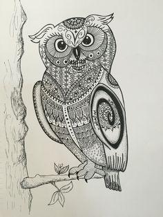 Owl in tree by inkbykk on Etsy