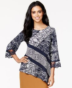 Alfani Lace-Print Asymmetrical Top, Only at Macy's