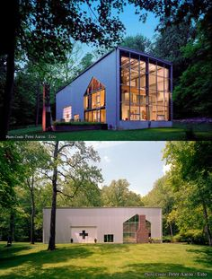 Shipping Container House> Very cool- I like how they cut the shape of a house in the side with the chimney lol