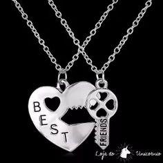 099304e9389 Colar Best Friend - Amizade Melhores Amigas Chave Coração Coisas De Melhores  Amigos