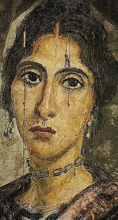 Mummy portrait of woman, Hawara , Roman Egypt (Cairo, Egyptian Museum)