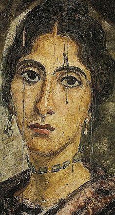 Mummy portrait of woman, Hawara , Roman Egypt (Cairo, Egyptian Museum)