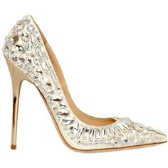 JIMMY CHOO 120mm Rhinestones Tia Leather Pumps - White and other apparel, accessories and trends. Browse and shop 31 related looks.
