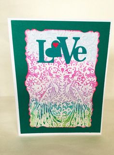 A personal favorite from my Etsy shop https://www.etsy.com/listing/203065872/handmade-love-card-peacock-cards