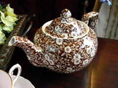 Staffordshire Calico Brown Chintz Teapot   My kitchen needs this!