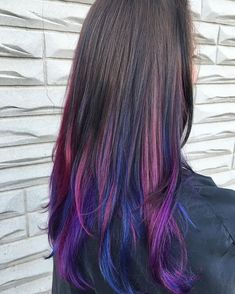 #scene217 #ombre #longhair #balayage #joicointensity #jbeverlyhills #purpleombre #purplehair #underlights #hairpainting #hairart #hairartist #nofilter #unitehair #davines #wellafreelights #wellablondor #wellasalon #brunette #brownhair Kids Hair Color, Ombre Hair Color, Hair Dye Colors, Underlights Hair, Hair Images, Hairstyle Images, Peekaboo Hair, Lilac Hair, Balayage Hair