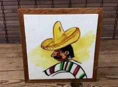 """Vintage Mexican Hombre Tile Trivet  w/ Wood Folk Art Tile 5"""" Sq    (A004) #DalTile"""