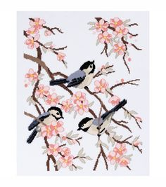 "Chickadees And Apple Blossoms Counted Cross Stitch Kit-11-1/2""X15-1/4"" 14 Count"