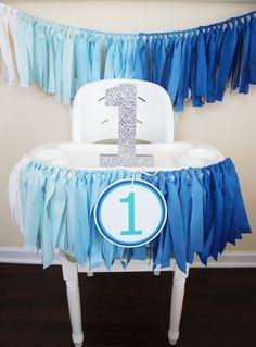 Blue Ombre Garland 1st Birthday Boy Highchair by MyLittleBoobug