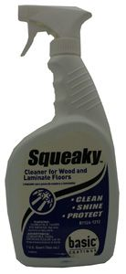 Squeaky Cleaner for Wood and Laminate by Basic Coatings. Get through tough dirt on both wood and laminate flooring. This floor cleaner is a great option.