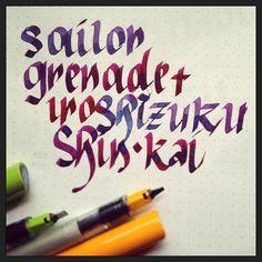Parallel Pens with Sailor Grenade and Pilot Iroshizuku Shin-Kai. Rhodia Dot Pad.