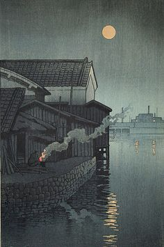 Kawase Hasui (Japanese: 1883 - 1957) - Moonlight