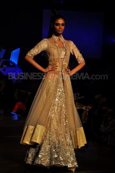 Champagne Gold lehengha with a jacket for a south asian bride
