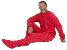 Big Feet Pajamas Adult Red Fleece One Piece Footy $48