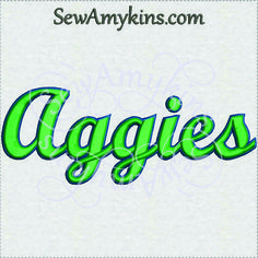 This Aggies team name school mascot machine embroidery design comes in 3 sizes.