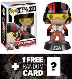 Poe Dameron Funko POP x Star Wars Vinyl BobbleHead Figure w Stand  1 FREE Official Star Wars Trading Card Bundle 62224