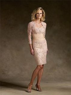 Bride groom wedding formal Mother of the bridal dress knee length & lace jacket