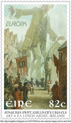 Postage Stamp - Art © P.J. Lynch (Artist. Ireland). Gulliver's Travels, 1726, by Jonathan Swift (Author/Poet. Ireland, 1667-1745). Classic Children's Books postage stamps for An Post, the Irish Postal Service. ... Give credit where due. http://pinterest.com/about/etiquette/ http://www.pinterestnews.org/2012/06/23/beginner