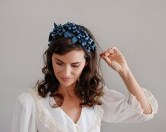 1950s hat / 50s hat / Blued Berries headband hat by DearGolden