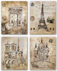"Amazon.com: Paris Sites Set by Liz Jardine 11""x14"" Art Print Poster: Paris Wall Art: Posters & Prints"
