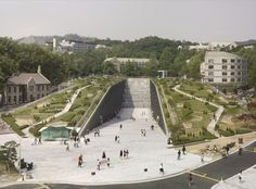 Ewha Womans University in South Korea designed by Dominique Perrault Architecture. Photo by André Morin via archdaily.com.