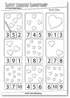 How Many Hearts? Counting worksheet for Preschool/Kindergarten. (scheduled via http://www.tailwindapp.com?utm_source=pinterest&utm_medium=twpin&utm_content=post155537287&utm_campaign=scheduler_attribution)