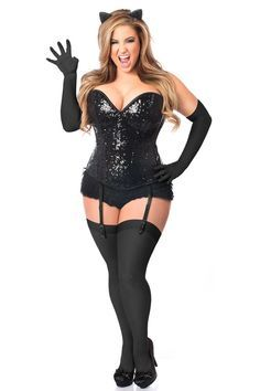 2a81f2bc7b1 Daisy Corsets Top Drawer 4 PC Sequin Black Cat Corset Costume