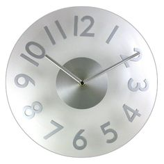 "$14.99-$14.99 Baby Timekeeper 6074 Round 11.5"" Plexiglas Clock with Silver Arabic Numerals - Made from scratch-resistant Plexiglas, the contemporary 6074 wall clock by Timekeeper offers long-term durability.  The sculpted three-dimensional numerals and convex shaped dial add extra depth that differentiates it from traditional flat clocks.  The elegant brushed metal hands and oversized numerals c ..."