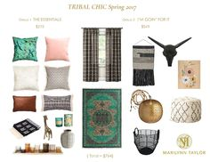 Refresh your spring decor the easy way with this ready to buy accessory collection mood board!  Only $25!  with Green, blush, black & world influences, this design plan is perfect for the bohemian in you.  Tribal Chic Spring 2017 Roundup for living room or bedroom.
