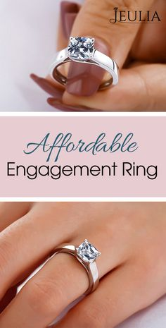 Affordable Engagement Ring That Was Created For A Special Bride ❤️ This elegant ring features a sparkling cushion-cut created white sapphire as its center. It is a magical gift of love. Perfect for being a gorgeous engagement ring option. Jeulia's signature is inscribed inside the band. ❤️ #JeuliaJewelry