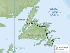 Explore the main highlights of Newfoundland including St. John's, Twillingate, Trinity Bay, the Northern Peninsula and Gros Morne National Park. Speak to a local expert with first-hand experience on Canada Self Drive Tours. Canada Tours, Canada Travel, Canada Trip, Road Trip Map, East Coast Road Trip, Road Trips, East Coast Canada, Atlantic Canada, Newfoundland And Labrador
