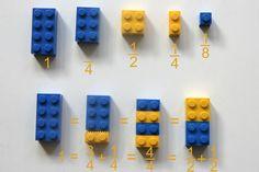 Pas facile de comprendre les fractions! Alors pour que cela soit plus visuel, sortez les Lego et montrez-leur ce concept en partant d'une brique de 2x4 que l'on peut décliner en quart, moitié, trois quarts...