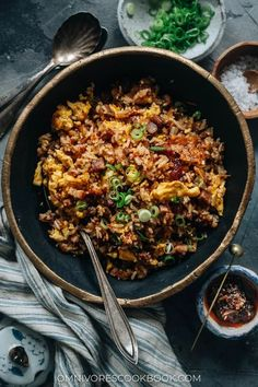 Dig into a bowl of XO fried rice with a crispy, crunchy texture and savory sweet, lightly seafoody taste that transforms your leftover char siu pork into a meal in minutes! Pork Recipes, Asian Recipes, Ethnic Recipes, Chinese Recipes, Chinese Food, Chinese Meals, Asian Foods, Cookbook Recipes, Yummy Recipes