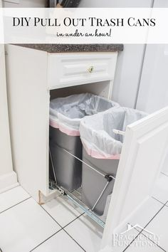 Pull Out Trash Cans (in under an hour!) Turn an empty cabinet into DIY pull out trash cans in under an hour; so easy to do!Turn an empty cabinet into DIY pull out trash cans in under an hour; so easy to do! New Kitchen Cabinets, Diy Cabinets, Diy Kitchen, Kitchen Storage, Kitchen Design, Kitchen Garbage Can Storage, Kitchen Island, Cabinet Storage, Kitchen Cupboard