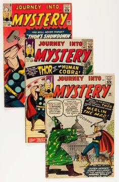 $$$ LAST CHANCE TO OWN THESE 12 VINTAGE SILVER AGE JOURNEY INTO MYSTERY COMICS $$$  VERY GOOD CONDITION! DON'T MISS OUT! BID NOW!  BIDDING CLOSES TONIGHT!  Silver Age (1956-1969):Superhero, Journey Into Mystery Group (Marvel, 1963-66) Condition: AverageGD/VG.... (Total: 12 Comic Books) Image #1