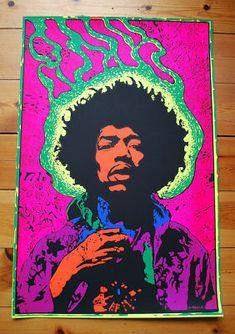 Vintage Black Light Posters   Vintage 60s Jimi Hendrix Blacklight Poster Martin Sharp   Vintage ...